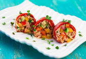 Red peppers stuffed — Stock Photo