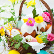 Basket with easter eggs and cake — Stock Photo