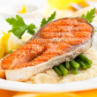Salmon with vegetables - Stock Photo