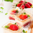 Stock Photo: Rhubarb and strawberry dessert