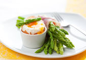 Asparagus ,egg and ham — 图库照片