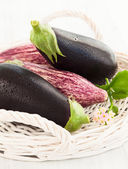 Fresh aubergines — Stock Photo