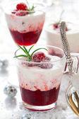 Cranberry dessert with cream — Stock Photo