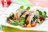Turkey stuffed with spinach — Stock Photo