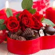 Stock Photo: Roses and candies for Valentine's Day