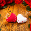 Two hearts and flowers — Stock Photo #35590529
