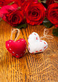 Two hearts and flowers — Stock Photo