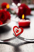 Place setting for Valentine's day — Stock Photo