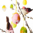 Easter eggs and birds — Stock Photo