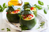 Zucchini stuffed with vegetables — Stock Photo