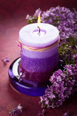 Candle and lilac — Stock Photo