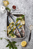 Sea bass before cooking — 图库照片