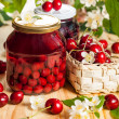 Jars of fruit preserves — Stock Photo #48152997