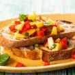 Bruschetta with Peach Salsa — Stock Photo #48504961