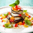 Eggplant, Tomato and Mozzarella Stacks — Stock Photo