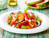 Tomato and watermelon salad with feta — Stok fotoğraf