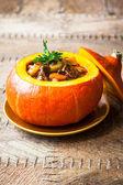Beef stew in pumpkin — Stock Photo