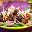 Figs with prosciutto,cheese and balsamic vinegar — Stock Photo #7972451