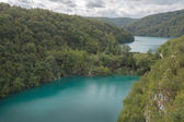 Two big lakes in Plitvice Lake National Park — 图库照片