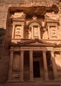 City of Petra and picture of Treasury which is half in shadow ha — Stock Photo