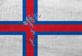 Flagga och karta över färöarna på en säckväv — Stockfoto