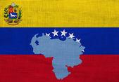 Drapeau et carte du venezuela sur un sac — Photo