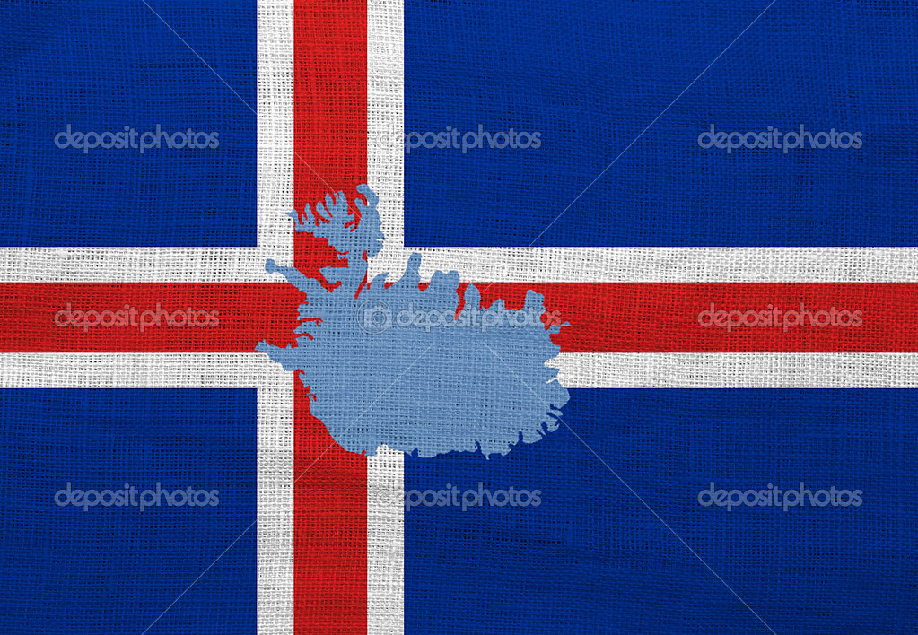 Flag and map of Iceland on a sackcloth — Stock Photo #12543142