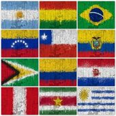 Painted Flags of South America — Stock Photo
