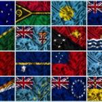 Silk Flags of Oceania — Stock Photo