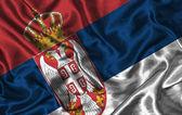 Silk Flag of Serbia — Stock Photo