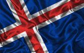 丝绸国旗的冰岛 — 图库照片