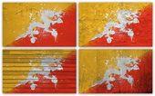 Bhutan flag collage — Stock Photo