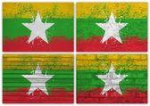 Myanmar flag collage — Stock Photo