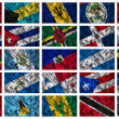 Waving colourful North America flags on a silk background — Stock Photo #14093542