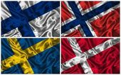 Silk Flags of Scandinavia — Stock Photo