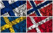 İskandinavya ipek bayrakları — Stok fotoğraf