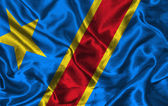 Silk Flag of Democratic Republic of Congo — Stock Photo