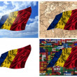 Waving colorful Romania flag collage — Stock Photo