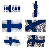 Finnish flag collage — Stock Photo