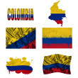 Colombian flag collage — Stock Photo
