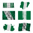 Nigerian flag collage - Stock Photo