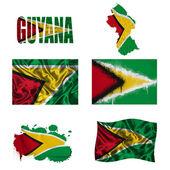 Guyana flag collage — Stock Photo