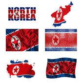 North Korean flag collage — Stock Photo