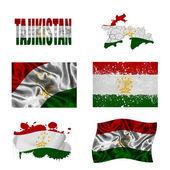 Tajikistan flag collage — Stock Photo