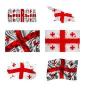 Georgian flag collage — Stock Photo