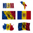 Moldova flag collage — Stock Photo