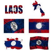 Laos flag collage — Stock Photo