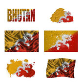Bandiera Bhutan collage — Foto Stock
