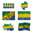 Gabon flag collage — Stock fotografie