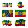 Ethiopia flag collage — Stock Photo